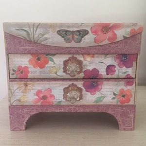 Pink and White Butterfly Jewelry Box